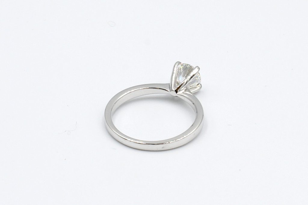 rear view of a white gold diamond solitaire ring