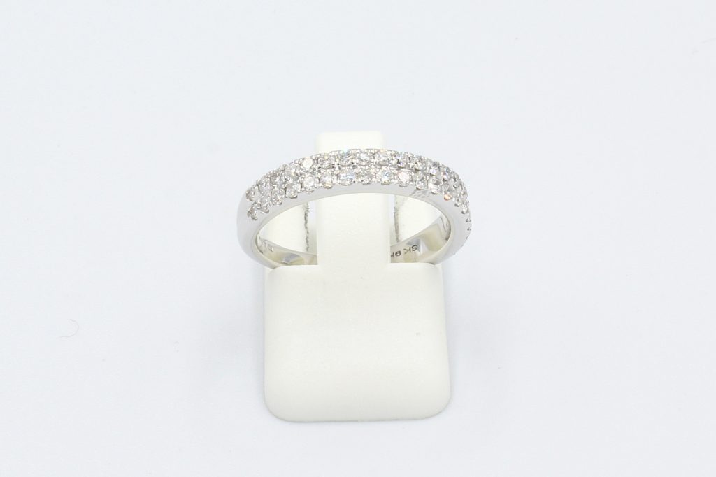 front view of a double row diamond pave wedding ring
