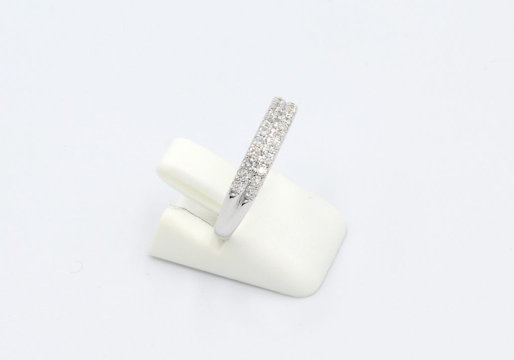 side view of a double row diamond pave wedding ring