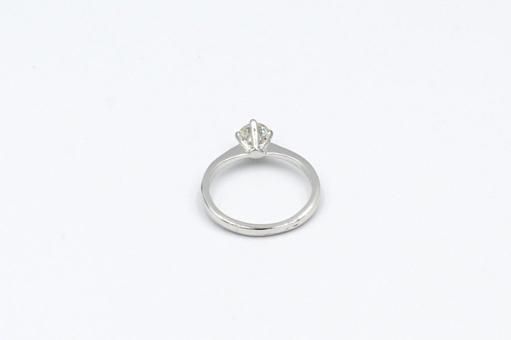 back view of a platinum solitaire diamond ring