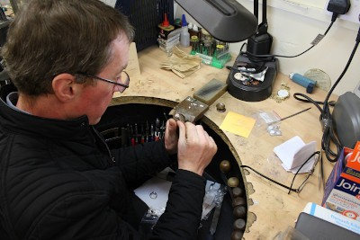 martin gear working on a new ring in his workshop