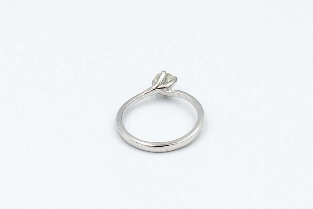 rear view of a white gold solitaire diamond ring